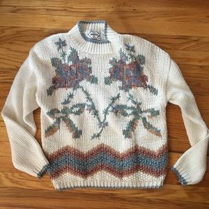 Vintage mock neck grandma sweater size large